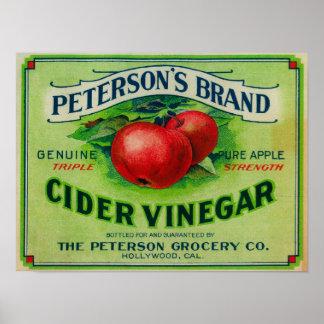 ピーターソンのリンゴ酢のラベル ポスター