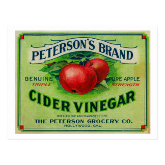 ピーターソンのリンゴ酢のラベル ポストカード
