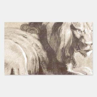 ピーターポールRubens著ライオンのEtude 長方形シール
