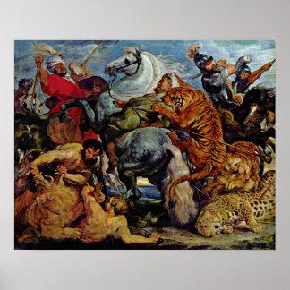 ピーターポールRubens -トラおよびライオンの狩り ポスター