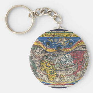 ピーターApian 1520年著旧式なハート形の世界地図 キーホルダー