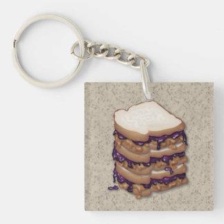 ピーナッツバターおよびゼリーサンドイッチ キーホルダー