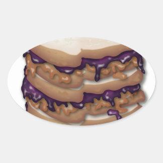 ピーナッツバターおよびゼリーサンドイッチ 楕円形シール