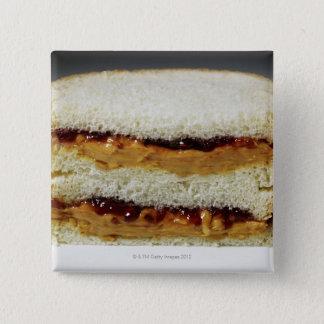 ピーナッツバターおよびゼリーサンドイッチ 5.1CM 正方形バッジ