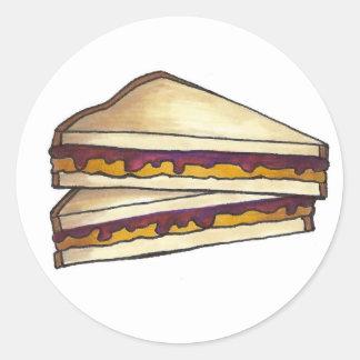 ピーナッツバターおよびブドウゼリーサンドイッチPBJ昼食 ラウンドシール