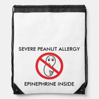 ピーナツアレルギーのドローストリングのバックパック ナップサック