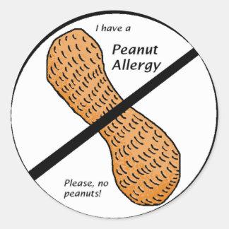 ピーナツアレルギーの警告 ラウンドシール