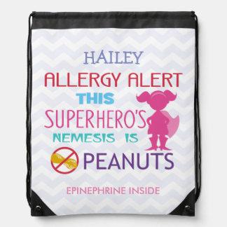 ピーナツアレルギー警報スーパーヒーローの女の子のドローストリングバッグ ナップサック