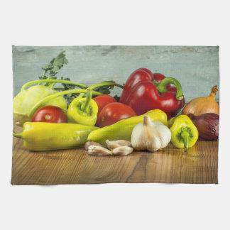 ピーマンのタマネギおよびニンニクの台所タオル キッチンタオル