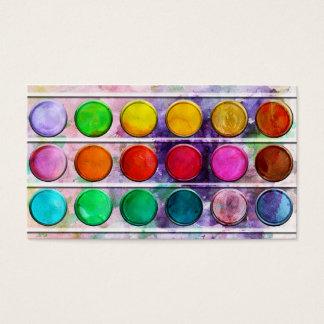 ファインアートのおもしろいのカラフルなペンキの絵の具箱 名刺