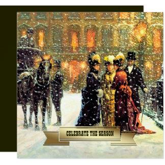 ファインアートのクリスマスの休日のパーティの招待状 カード
