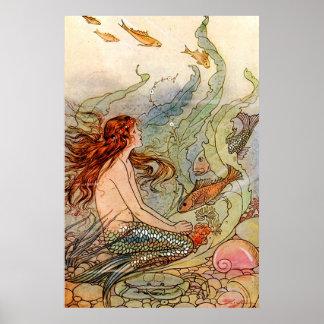 ファインアートの人魚Ilustration プリント