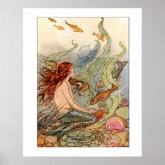 ファインアートの人魚Ilustration ポスター