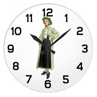 ファッショニスタファッションのイラストレーションのヴィンテージ ラージ壁時計