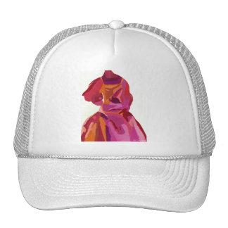 ファッショニスタ花型女性歌手の秋の赤 メッシュ帽子