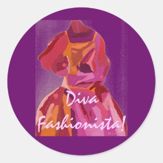 ファッショニスタ花型女性歌手の秋の赤 丸型シール
