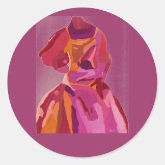 ファッショニスタ花型女性歌手の秋の赤 丸形シールステッカー