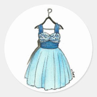 ファッショニスタ青いプロムの服のヴィンテージのレトロのファッション ラウンドシール
