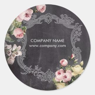ファッションのガーリーなヴィンテージの花の黒板 ラウンドシール