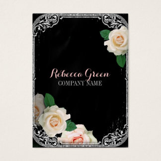 ファッションのガーリーなヴィンテージの花の黒板 名刺