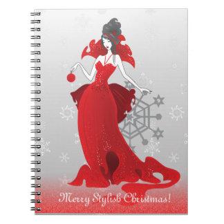 ファッションのクリスマスのスタイリッシュで赤い灰色の絵 ノートブック
