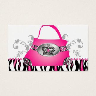 ファッションのハンドバッグの王冠の財布のピンクのシマウマの花柄 名刺