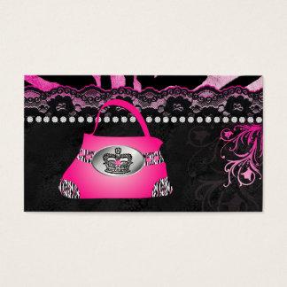 ファッションのハンドバッグの王冠の財布のピンクのレースのシマウマ 名刺