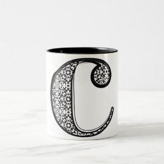 ファッションのフォント、手紙c ツートーンマグカップ
