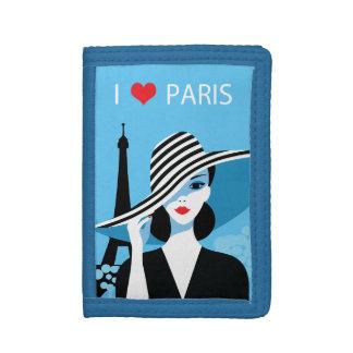 ファッションのフランスのでスタイリッシュなファッションの上品のイラストレーション ナイロン三つ折りウォレット