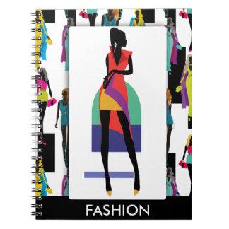 ファッションのモダンでスタイリッシュで粋な絵パターン ノートブック