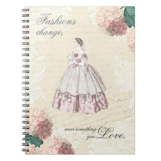 ファッションの引用文の美しいヴィンテージのノート ノートブック