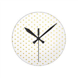 ファッションの金ゴールドの水玉模様 ラウンド壁時計