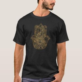 ファティマの記号のお守りのデザインのHAMSA手 Tシャツ