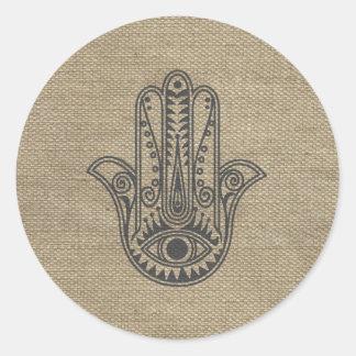 ファティマの記号のお守りのHAMSA手 丸型シール