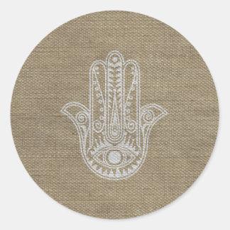 ファティマの記号のお守りのHAMSA手 丸形シールステッカー