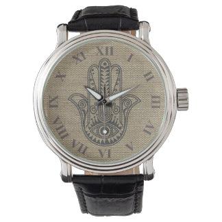 ファティマの記号のお守りのHAMSA手 腕時計