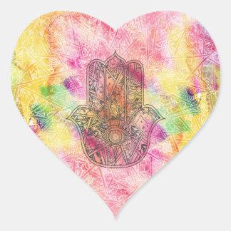 ファティマの記号のお守りのHennaの花柄のHAMSA手 ハートシール