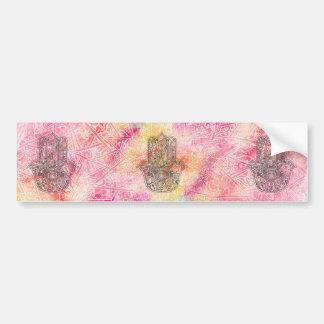 ファティマの記号のお守りのHennaの花柄のHAMSA手 バンパーステッカー