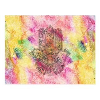 ファティマの記号のお守りのHennaの花柄のHAMSA手 ポストカード