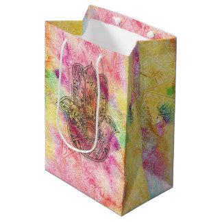 ファティマの記号のお守りのHennaの花柄のHAMSA手 ミディアムペーパーバッグ