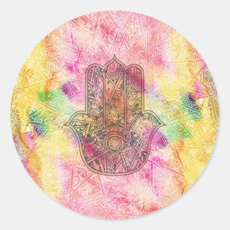 ファティマの記号のお守りのHennaの花柄のHAMSA手 ラウンドシール