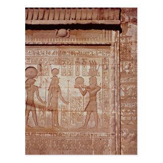 ファラオを描写するレリーフ、浮き彫り ポストカード