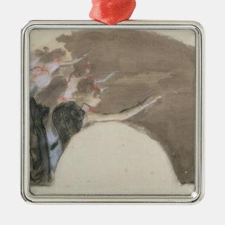 ファンのためのエドガー・ドガ のスケッチ、c.1879 シルバーカラー正方形オーナメント