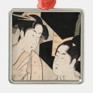 ファンの売り手の北川町Utamaroの日本人の女性 シルバーカラー正方形オーナメント