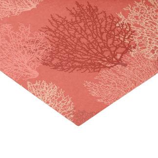 ファンの珊瑚のプリント、珊瑚のオレンジの陰 薄葉紙