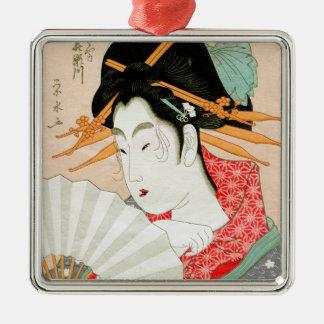 ファンの芸術の涼しい日本のwoodprintの芸者 シルバーカラー正方形オーナメント