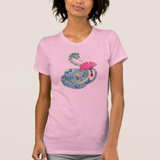 ファンのTシャツを持つ幸せなヘビ Tシャツ