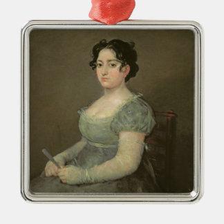 ファンを持つ女性、c.1805-06 (キャンバスの油) メタルオーナメント