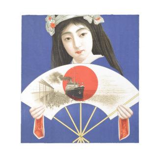 ファンを握る青い着物の日本のな女性 ノートパッド