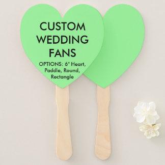 ファンを結婚するカスタムで名前入りで真新しい緑のハート ハンドファン